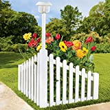 Brylanehome White Wood Corner Fence With Solar Powered Light