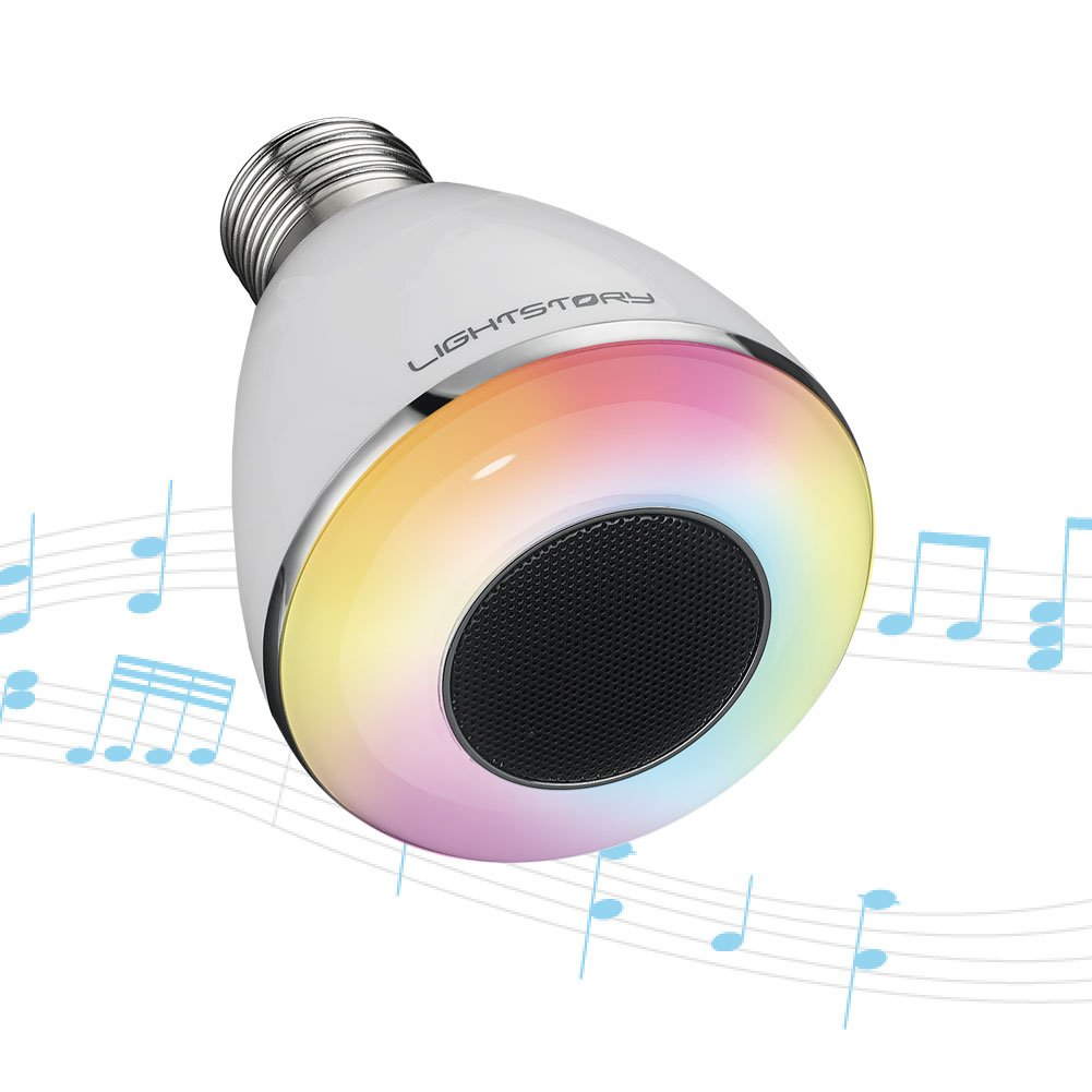 LightStory Bluetooth Light Bulb Speaker, 8W E26 Base RGB Color Changing LED Music Bulb, Multicolor Wireless Bluetooth Stereo Speaker Bulb