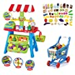 (VTM SPC-B) deAO� Kids Market Stall Toy Shop & Shopping Trolley & Play Food
