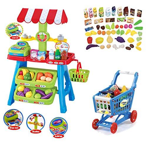 deAO Supermercado Puesto de Mercado – Tienda de Alimentos con Carrito de la Compra, Más de 70 Accesorios y Productos Incluidos