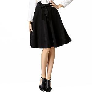 Choies Women's Black Bowknot Front High Waist Cotton Blend Autumn Skater Skirt L