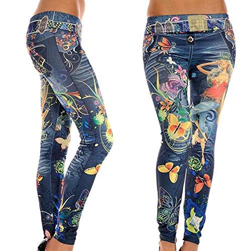 Hjuns Jeans Skinny da donna Soft-Leggings elasticizzati, Leggings, pantaloni da donna blu Taglia unica
