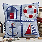 Cross Stitch Cushion Front Nautical Design all materials included in the kit matching draught excluder also available