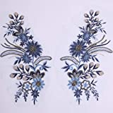 1 Pair Navy Flower Embroidery Applique Patches Sewing Craft Decoration Sew on Trim Neckline Collar (Color: Design1)