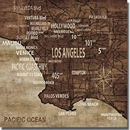 Map of Los Angeles by Luke Wilson Premium Oversize Gallery Wrapped Canvas Giclee Art (Ready to Hang)