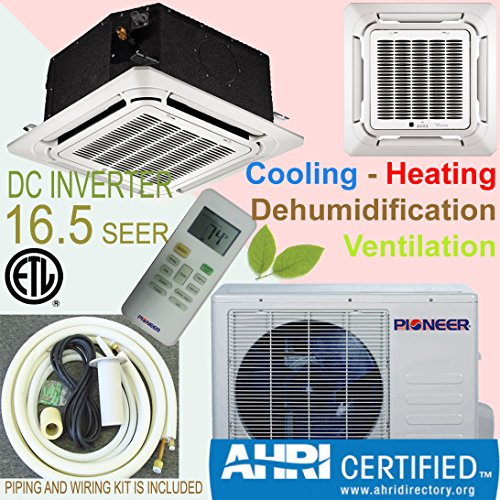 Best Buy! Pioneer 8-Way Ceiling Cassette Split Inverter Air Conditioner with Heat Pump, Mini
