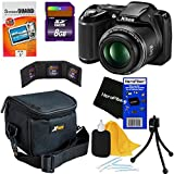 Nikon COOLPIX L330 20.2 MP Digital Camera with 26x Zoom NIKKOR Lens & Full HD 720p Video Recording - Black (Import) + 7pc Bundle 8GB Accessory Kit w/ HeroFiber® Ultra Gentle Cleaning Cloth