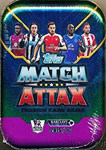 2015/2016 Topps Match Attax English Premier League Soccer Factory Sealed Collectors MEGA TIN with 50 Card & EXCLUSIVE Limited Edition Card! Look for Cards of the Top Stars of Barclays Premier League!