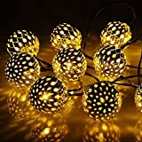 Coomatec LED20球 ソーラーイルミネーションライト ガーデンライト ウォーム 光センサー内蔵 2つ発光モード クリスマス、新年、結婚式、パーティーなどの祝日用 SS-20B