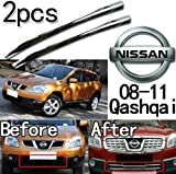 GOOACC®Steel Front Lower Grille Trim 2 Pieces Exterior for 2008 2009 2010 2011 Nissan Qashqai