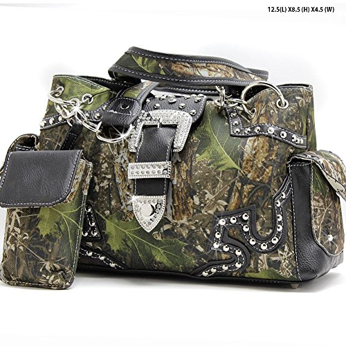 Black Western Belt Buckle Concealed Carry Gun Weapon Handbag Purse Camo Camouflage Cell Phone Cover