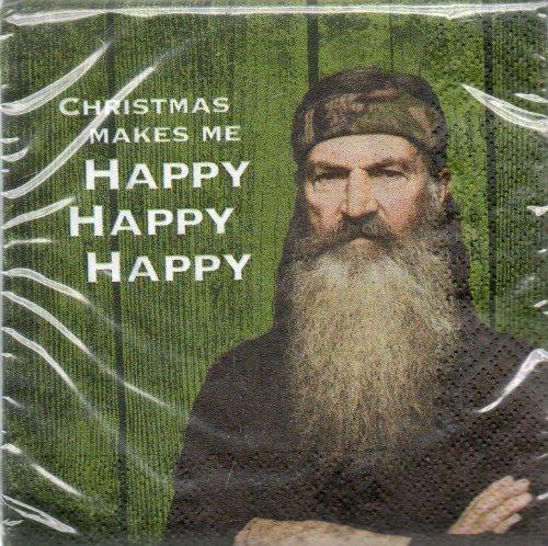 Christmas Makes Me Happy Happy Happy, Paper Napkins, Duck Dynasty Values: A & E 24 Napkins 2013