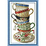Full Range of Embroidery Starter Kits Stamped Cross Stitch Kits Beginners for DIY Embroidery with 40 Pattern Designs - Coffee Cup (Color: Coffee cup)
