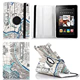 HPYHero® NEW STYLE Fire HD 7 Case - Luxury 360 Rotating Magnetic Smart PU Leather Case Cover for Amazon Kindle Fire HD 7 2014 with Wake & Sleep Function (will only fit Amazon Kindle Amazon Kindle Fire HD 7 4th Generation 2014 model) (map pattern blue)