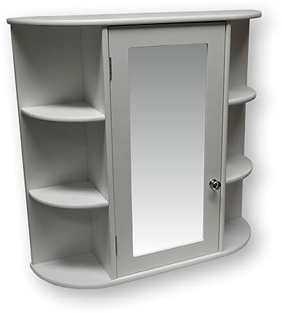 Generic QY-UK4-16FEB-20-3037 *1**4987** Bathroom Cabinet Wooden Indoor Wall Mountable White W White Wooden Wall Mo and Mirror Door or Door with Shelves s and Mirror Door