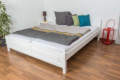 Doppelbett - Gästebett Kiefer massiv Vollholz weiß lackiert 79, inkl. Lattenrost - Abmessung 180 - 200 cm