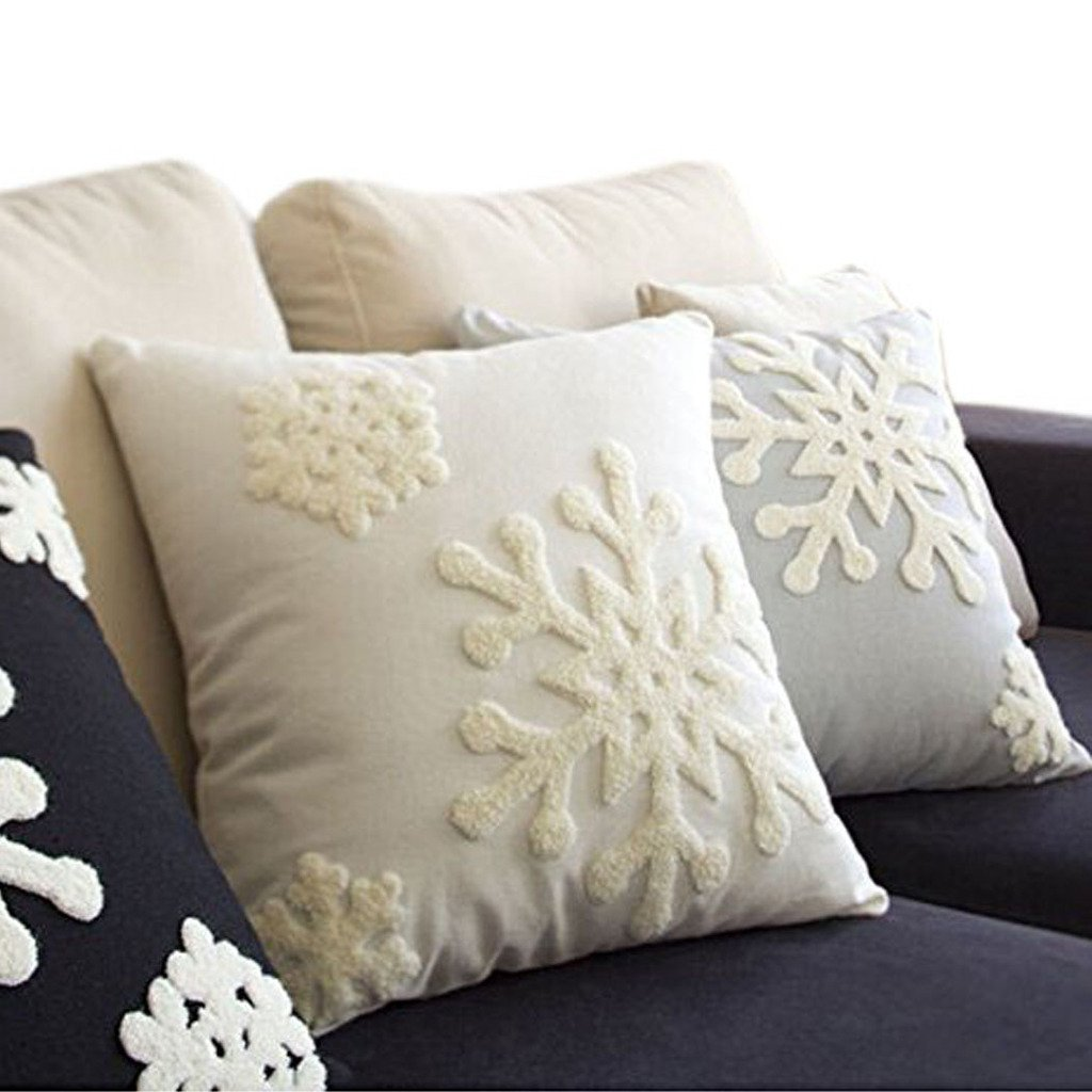 Canvas Cotton Embroidery Throw Covers Christmas Snow Square Throw Pillow Covers White