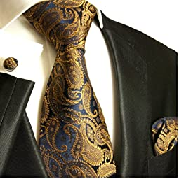 Paul Malone Necktie, Pocket Square and Cufflinks 100% Silk Brown Paisley