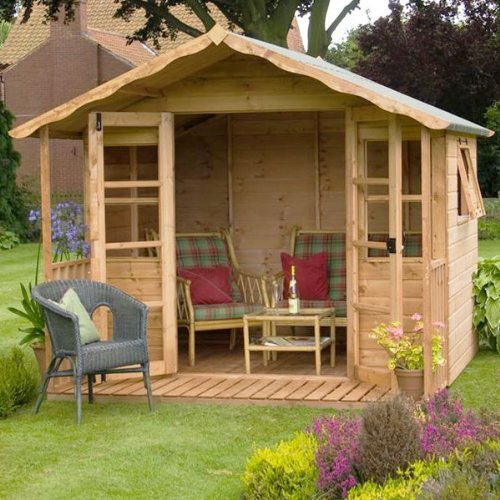 10ft x 8ft Sussex Shiplap Apex Wooden Garden Summerhouse - Brand New 10x8 Tongue and Groove Wood Summerhouses