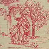 Toile de Jouy Fabric Aimee Authentic French Designer 100 Cotton Print 140cms 55 Wide sold by the metre Red