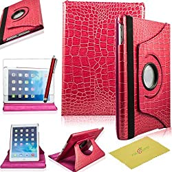 Ipad Air Case, Ipad 5 Case, Fulland Colorful 360 Rotating Flip Leather Case Cover for Apple Ipad Air 5 with Smart Auto Wake/Sleep Function plus Stylus Touch Screen Pen and Screen Protector-crocodile Magenta