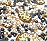 LOVEKITTY 10 animal print gems and 1000 pcs 3mm 5mm mixed Gold and Black Rhinestones Round Flatback 14-Facet (High Quality)