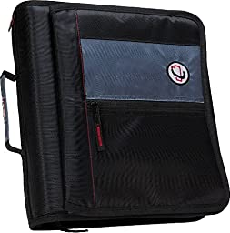 Case-it 2-Inch Round Ring Zipper Binder with Velcro Messenger Front, Black, M-276-BLK