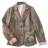 Women's Yoshino Blossom Embroidered Cotton Brown Jacket