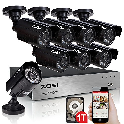 ZOSI-8-channel-960H-HDMI-CCTV-DVR-1TB-Hard-Drive-Pre-installed-8-InOutdoor-IP66-weatherproof-800TVL-Surveillance-Security-Camera-System-Remote-ViewingUSB-Backup65-Night-Vision36mm-lens