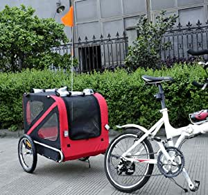 Aosom Venture Pet Dog Bike Carrier / Bicycle Trailer - Red