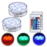 Submersible LED Lights with Remote Control Underwater Battery Operated Light,10-LED Waterpoof MultiColor Reusable Lights for Aquarium, Valentine's Day