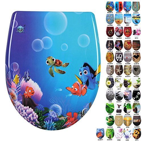 WOLTU-2512-Bathroom-Washroom-Restroom-Toilet-Seat-Cover-Lid-with-Soft-Close-Hinge-and-Cartoon-gold-fish-Pattern