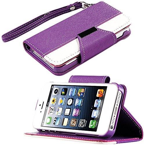 Mylife (Tm) Violet Purple And White Classic Fashion Design - Textured Koskin Faux Leather (Card And Id Holder + Magnetic Detachable Closing) Slim Wallet For Iphone 5/5S (5G) 5Th Generation Itouch Smartphone By Apple (External Rugged Synthetic Leather With