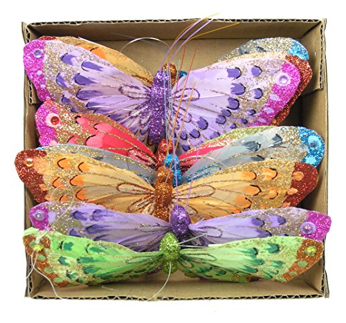 Feather Butterflies Wall Decor : Feather butterfly garland colorful glitter artificial