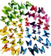 Goodlucky365� 48 PCS multicolored 3d Butterfly Wall Stickers Decals ,12pcs Purple 12pcs Yellow 12pcs Green 12pcs Blue,Durable Plastic Butterfly Decorations,wall Decor