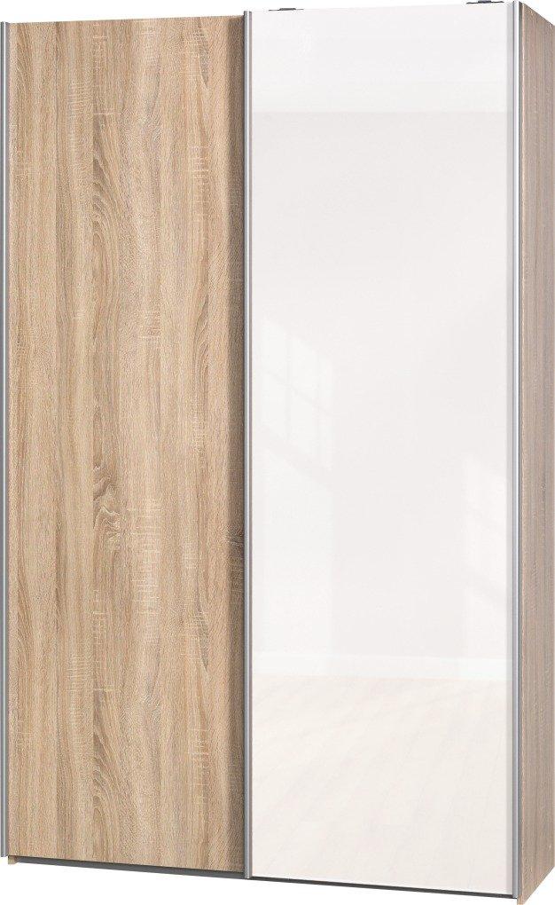 """Schwebetürenschrank """"Soft Plus Smart Typ 40"""", 120 x 194 x 42cm, Eiche/Eiche/Weiß hochglanz"""