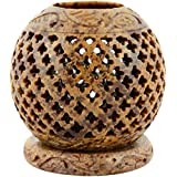 Origin Crafts Stone Tealight Candle Holders - 7 Cm X 7 Cm X 10 Cm, Natural Stone - B01A3252B6