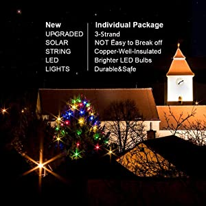 Solar Light String 2pack 100LED Copper Wire Lights Outdoor 33ft Waterproof 8 Modes Fairy Lights for Xmas,Patio, Bedroom, Patio, Wedding, Party for Heepow (Multi-Color)