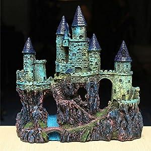 Fish tank resin castle ornament simulation for Fish tank decorations amazon