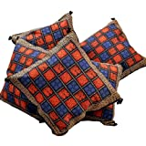 Little India Rajasthani Bagru Print Cotton 5 Piece Cushion Cover - Multicolor