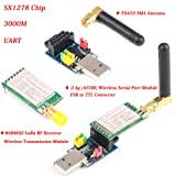 MakerFocus RF Wireless Transmission Module SX1278 Chip(433MHZ LoRa Spread Spectrum Communication, Measured Distance 3000M UART), 2.4G 433M Wireless Serial Module USB to TTL and SMA Antenna (Color: 3000M UART with Wireless Serial Module)