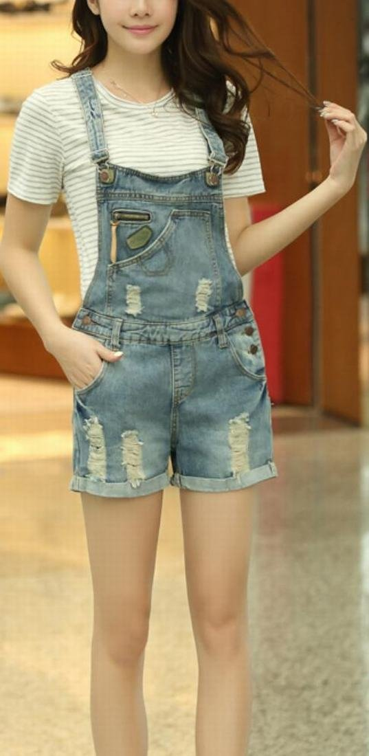 ASL Women Fashion Casual Denim Holes Vintage Overall 1