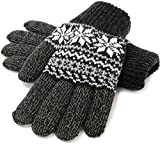 (マルカワジーンズパワージーンズバリュー) Marukawa JEANS POWER JEANS VALUE 手袋 メンズ グローブ スマホ対応 スマートフォン対応 ニット 雪柄 ノルディック柄 二重構造 4color Free ブラック
