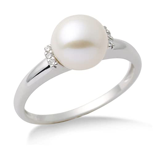 Miore Pearl Ring, 9 ct White Gold, Diamond Setting