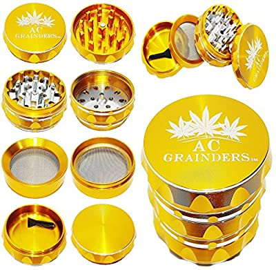 AC GRAINDERS #1 Best 4 Piece Large Spice Herb Grinder 2.5 Inch with Pollen Catcher - Crafted from Heavy duty Aluminum alloy + Bonus 2 Inch Non-Stick Silicone Jar by Almost Cannabis LTD