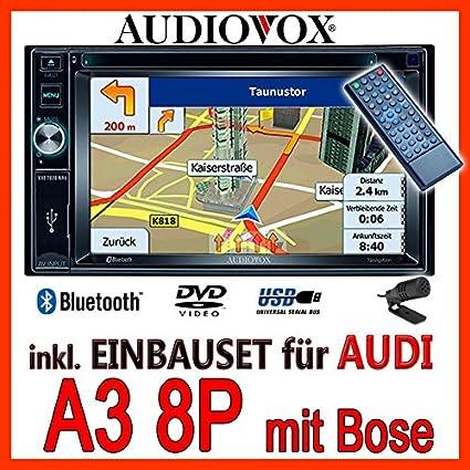 AUDI a3 8P pour casque bOSE-audiovox vXE7020 navigationsradio uE autoradio navi dVD avec écran tFT bluetooth