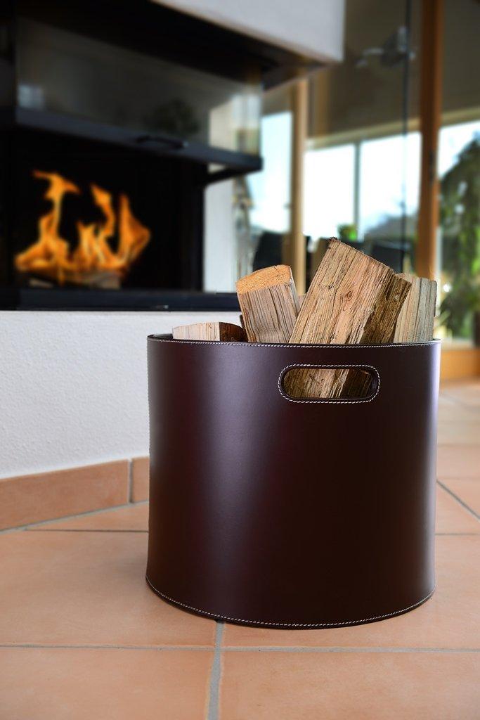 holzkorb korb f r kaminholz leder braun. Black Bedroom Furniture Sets. Home Design Ideas