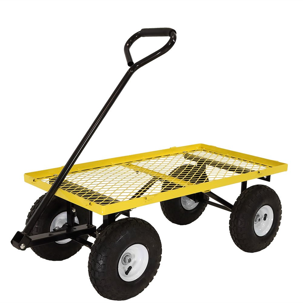 Sunnydaze Yellow Utility Cart with Folding Sides and Liner Set