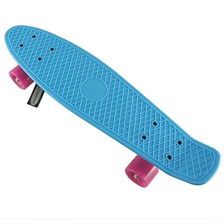 """SFT Cruiser skateboard complet en plastique à monter soi-même Deck bleu/roues roses 22"""""""