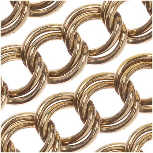 Antiqued Gold Plated Parallel Link Curb Chain 7mm Bulk By The Foot